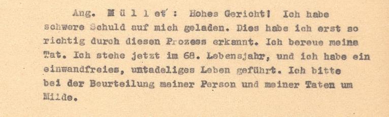 Schlusswort des Angeklagten Müller