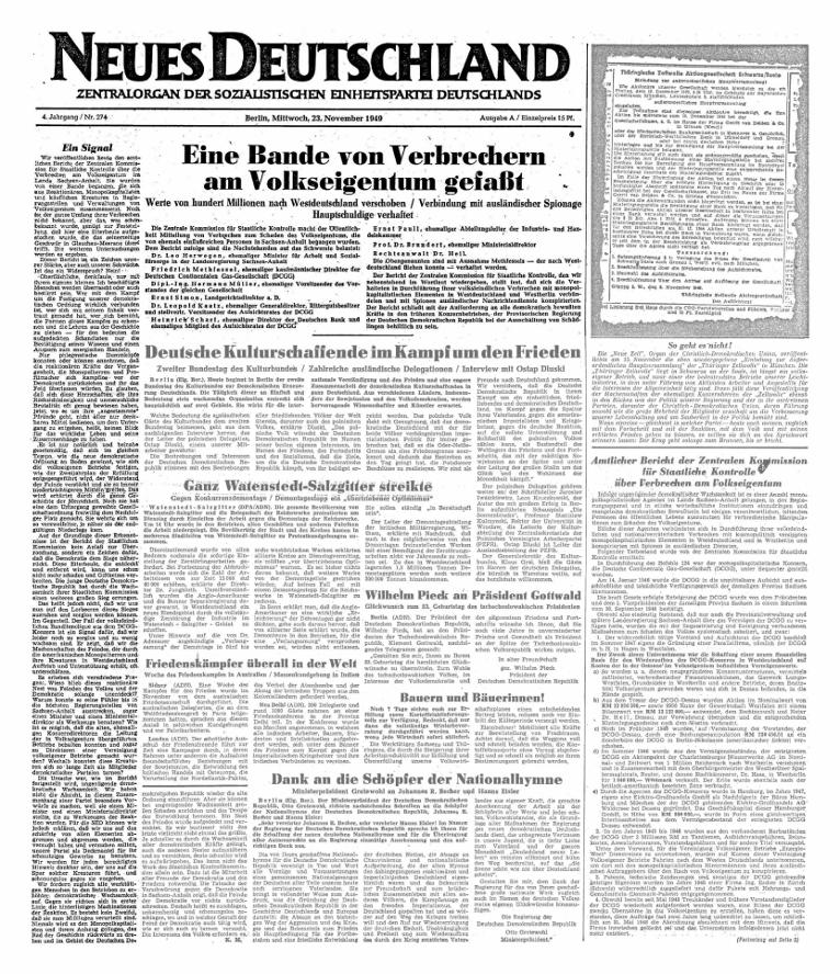 Beginn der Berichterstattung im Neuen Deutschland