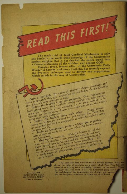 Ein Brief Mindszentys, Auszug aus dem Comicheft