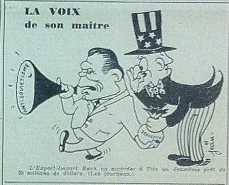 Karikatur aus der L'Humanité vom 19.19.1949
