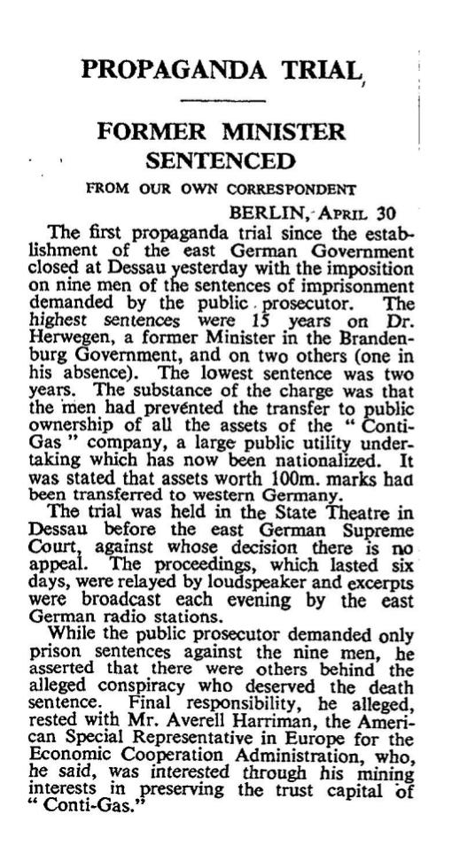 Propaganda Trial, zeitgenössischer Artikel aus der UK Times