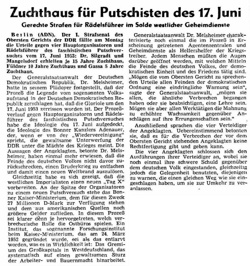 Zuchthaus für Putschisten des 17. Juni – Gerechte Strafen für Rädelsführer im Solde westlicher Geheimdienste, Zeitungartikel