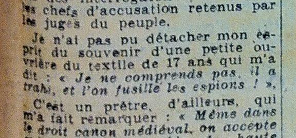 Verräter werden doch erschossen, Auszug aus einem französischen Zeitungsartikel