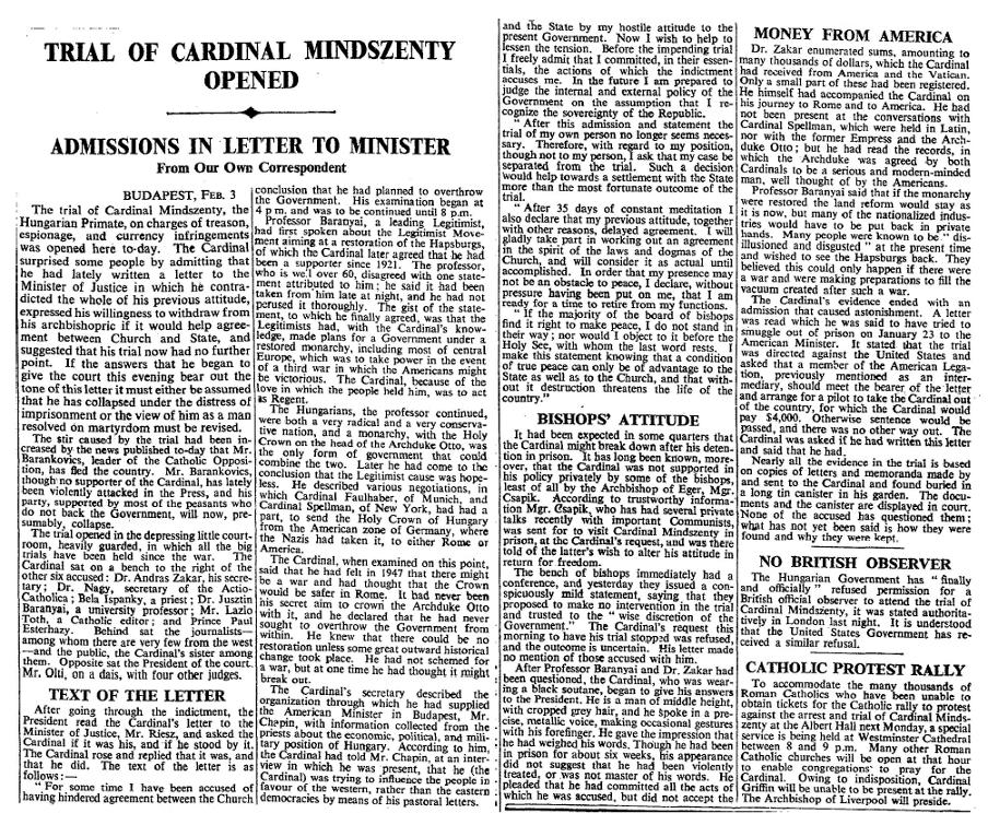 Trial of cardinal Mindszenty opened