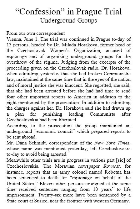 'Confession' in Prague trial, zeitgenössischer Artikel aus der Times