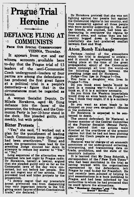 Prague Trial Heroine, zeitgenössischer Artikel aus dem Glasgow Herald